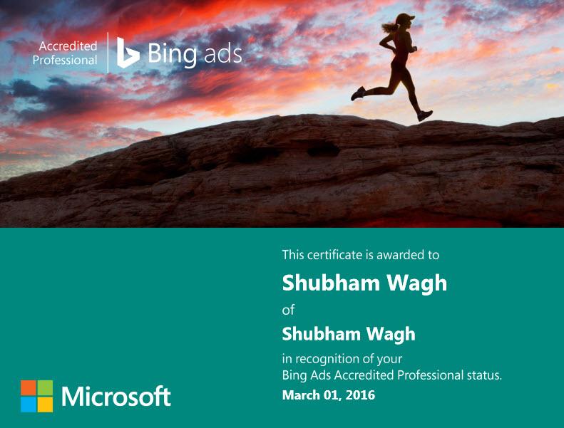 Bing Ads Professional - Shubham Wagh