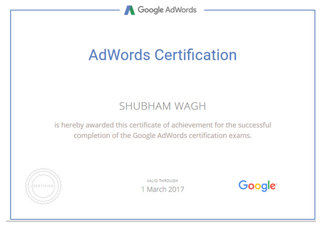 Shubham Wagh Certificate